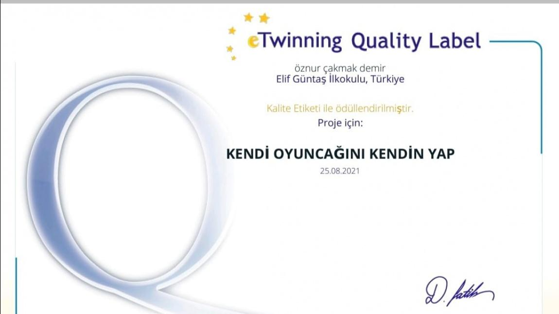 Kendi Oyuncağını Kendin Yap Adlı e-twinning Projesi Kalite Etiketi İle Ödüllendirildi